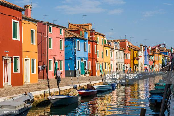 Burano, a canal with the typical colourful houses