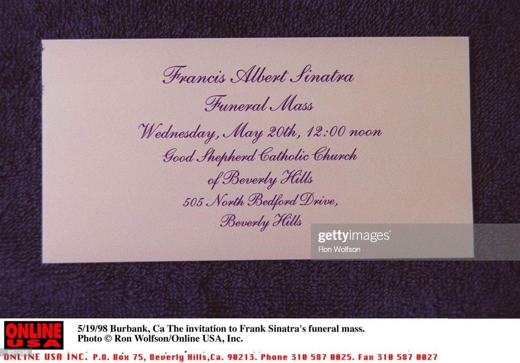 51998 Burbank Ca The invitation to Frank Sinatras funeral mass