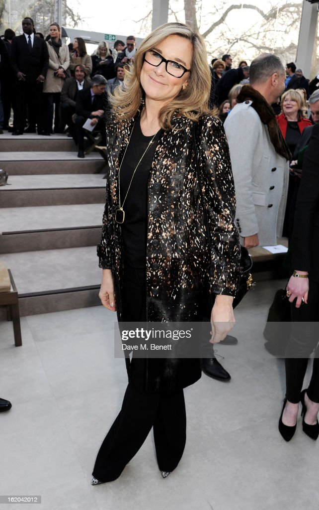 Burberry CEO Angela Ahrendts attends the Burberry Prorsum Autumn Winter 2013 Womenswear Show at Kensington Gardens on February 18, 2013 in London, England.