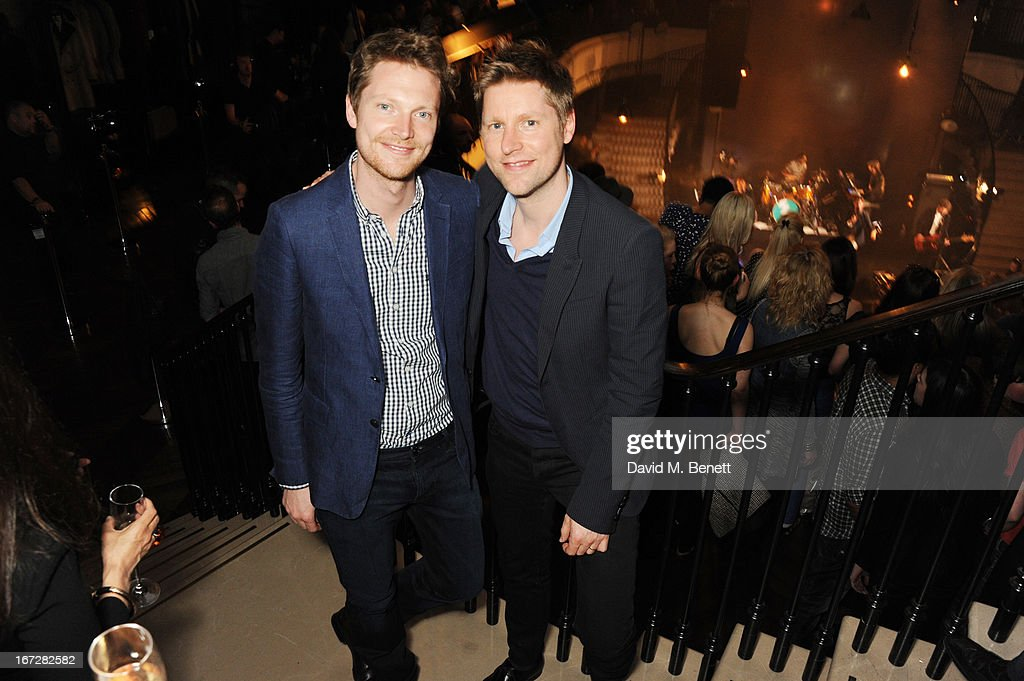 Burberry chief creative officer Christopher Bailey (R) and Simon Woods attend Burberry Live at 121 Regent Street at Burberry on April 23, 2013 in London, England.