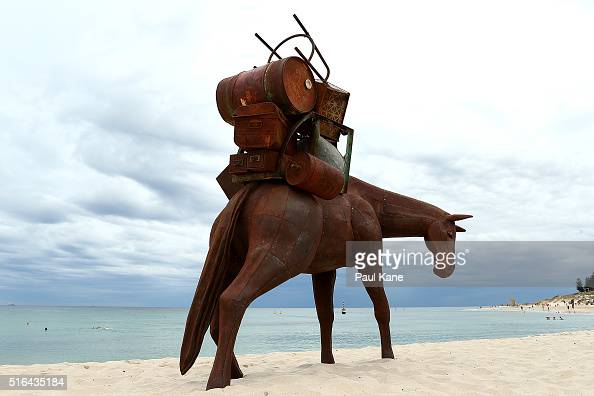 'A Burden' by artists Suzie Bates and Andrew Townsend is seen during Sculpture By The Sea 2016 at Cottesloe Beach on March 19 2016 in Perth Australia