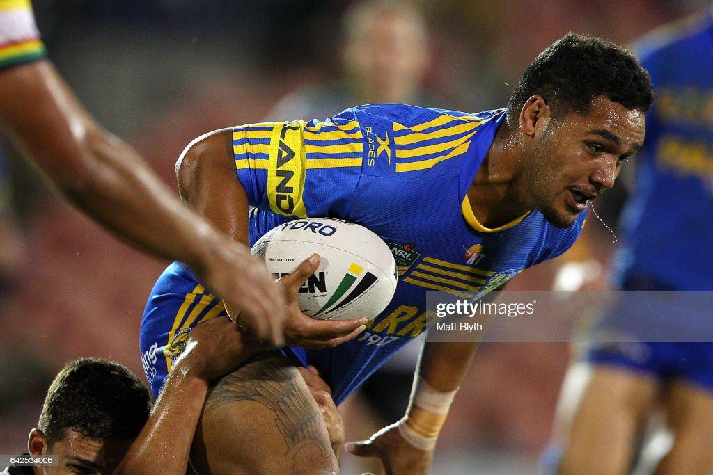 Bureta Faraimo of the Eels is tackled during the NRL Trial match between the Penrith Panthers and Parramatta Eels at Pepper Stadium on February 18, 2017 in Sydney, Australia.
