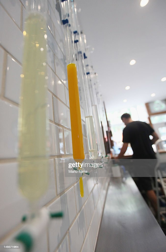 Burettes of vitamins and supplements to be added to filtered New York City water are seen at Molecule Water Cafe in Manhattan's East Village on July 27, 2012 in New York City. The newly opened cafe sells water purified in a $25,000 filtration system and encourages customers to purchase and refill environmentally friendly glass bottles. Extras such as vitamins and electrolytes can be custom added.