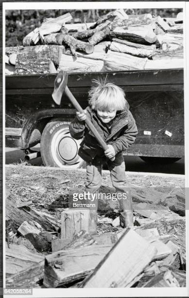 Five year old Damen Brasswell takes his best swing at a large piece of firewood at his father's firewood business near Buford 12/13 Indications are...