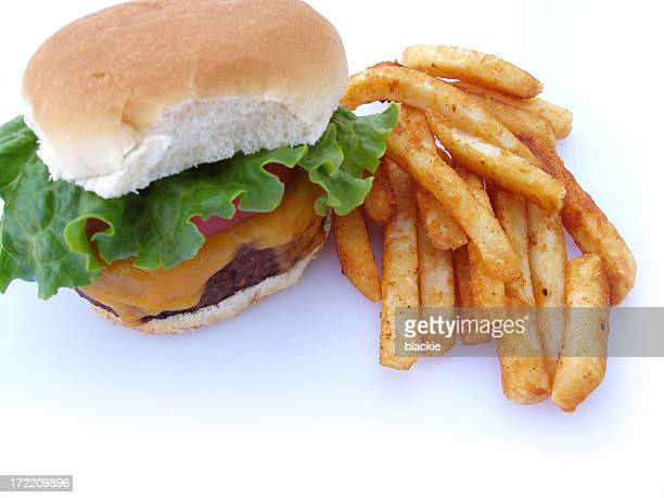 Burger and French Fries Closeup - Fast Food, Isolated