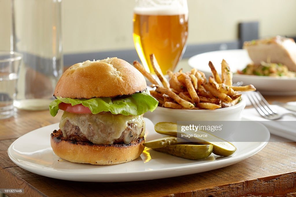 Burger and fries : Stock Photo