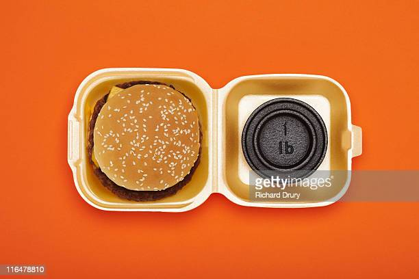 Burger and one pound weight in burger box