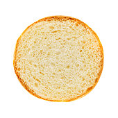 Surface of burger bread section isolated on white background with clipping path