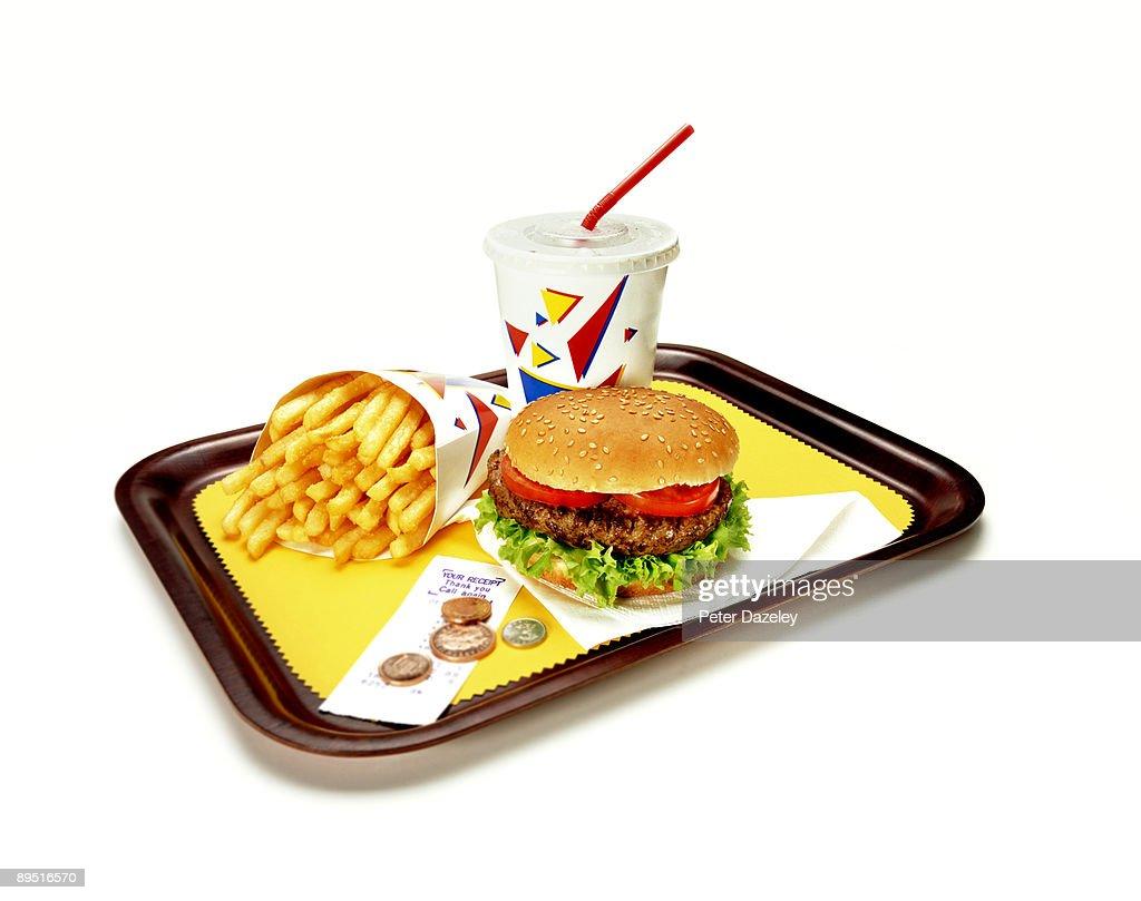 Burger, fries and soda on tray. : Stock Photo