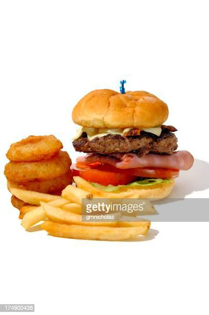 Burger, fries onion rings