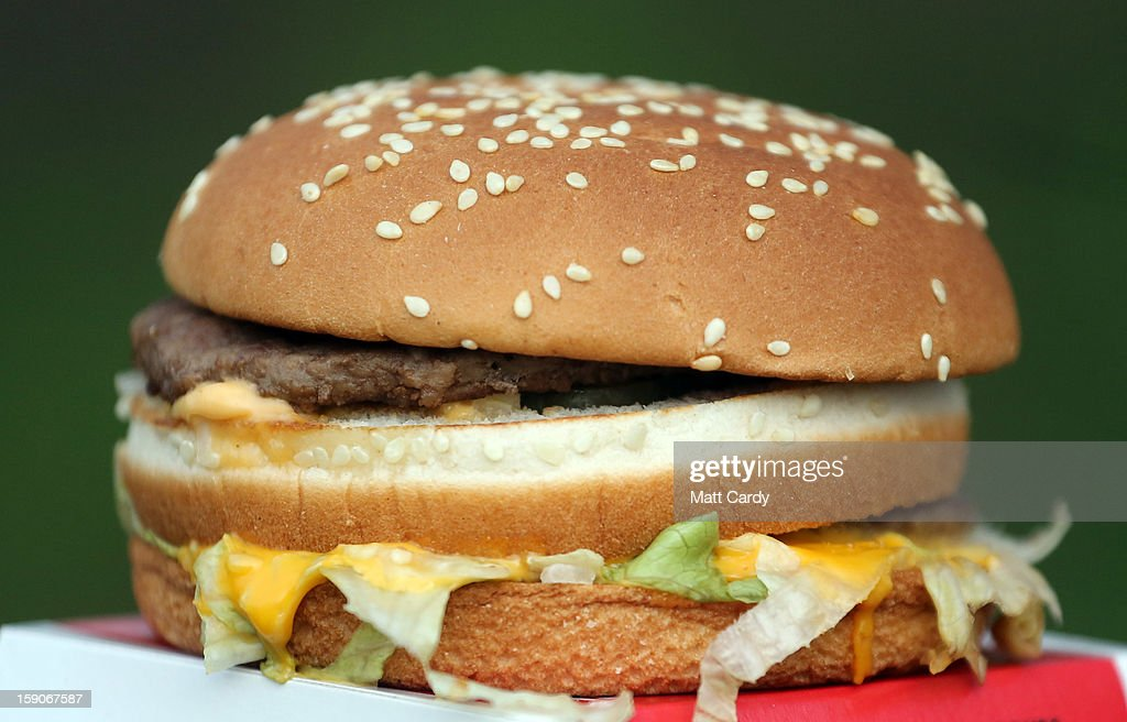 A burger from a fast food outlet is seen on January 7, 2013 in Bristol, England. A government-backed TV advert - made by Aardman, the creators of Wallace and Gromit - to promote healthy eating in England, is to be shown for the first time later today. England has one of the highest rates of obesity in Europe - costing the NHS 5 billion GDP each year - with currently over 60 percent of adults and a third of 10 and 11 year olds thought to be overweight or obese.