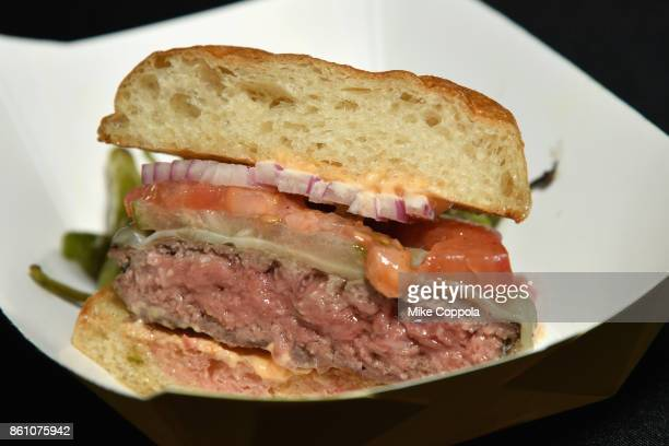 A burger from Ai Fiori on display at the Food Network Cooking Channel New York City Wine Food Festival Presented By CocaCola Blue Moon Burger Bash...