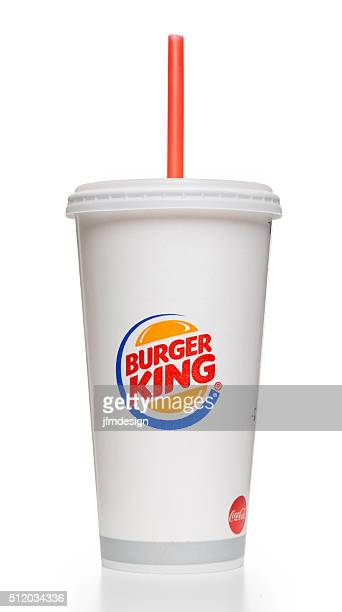 Burger King soda paper cup with red straw