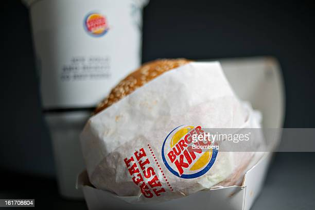 A Burger King Whopper hamburger is arranged for a photograph in Tiskilwa Illinois US on Wednesday Feb 13 2013 Burger King Worldwide Inc the second...