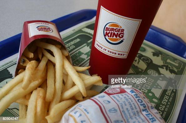 Burger King Whopper Jr meal sits on a tray at a Burger King restaurant August 21 2008 in San Francisco California Burger King the second largest...