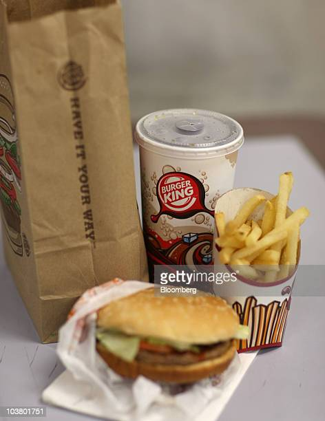 A Burger King whopper value meal is arranged for a photo in New York US on Thursday Sept 2 2010 Burger King Holdings Inc agreed to be acquired by 3G...