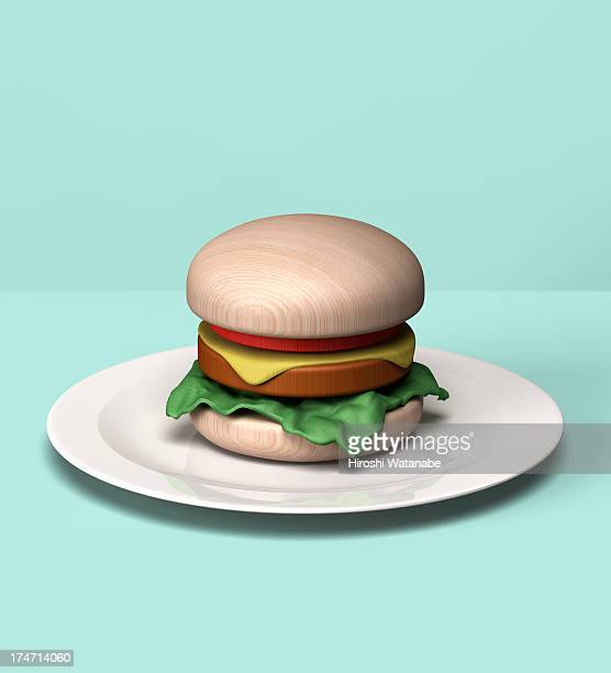 Burger made out of wooden block