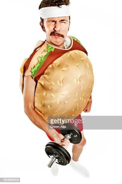 Burger man weightlifting