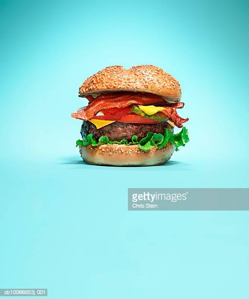 Burger on blue background