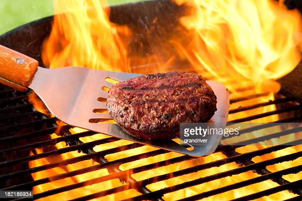 Burger on Grill with Fire