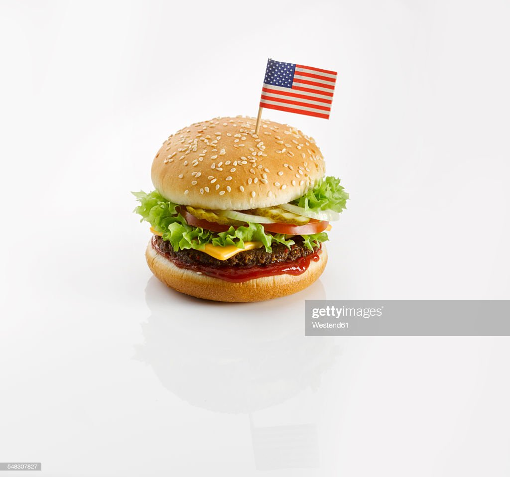Burger with American flag