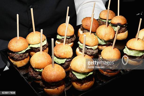 Burgers at the Vera Wang LOVE holiday cocktail soiree at Betony on December 7 2016 in New York City