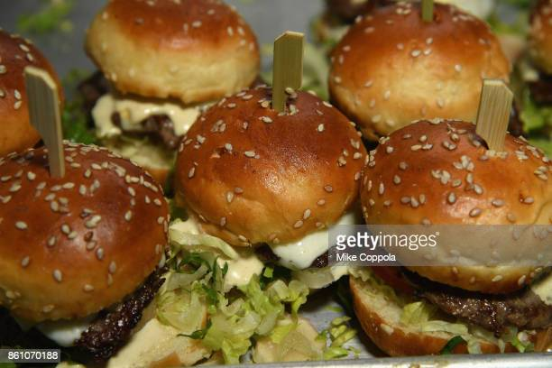 Burgers from The Standard Grill on display at the Food Network Cooking Channel New York City Wine Food Festival Presented By CocaCola Blue Moon...