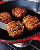 Burgers in frying pan