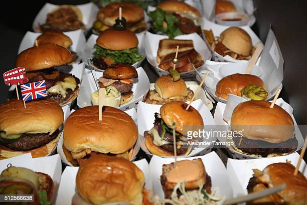 Burgers on display at Amstel Light Burger Bash Presented By Schweid Sons Hosted By Rachael Ray during 2016 Food Network Cooking Channel South Beach...