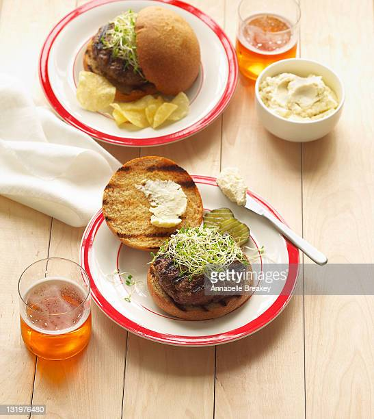 Burgers with Sprouts on Place Setting