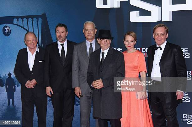 Burghart Klaussner Sebastian Koch Tom Hanks Steven Spielberg Amy Ryan and Mikhaul Gorevoy attend the 'Bridge of Spies Der Unterhaendler' world...