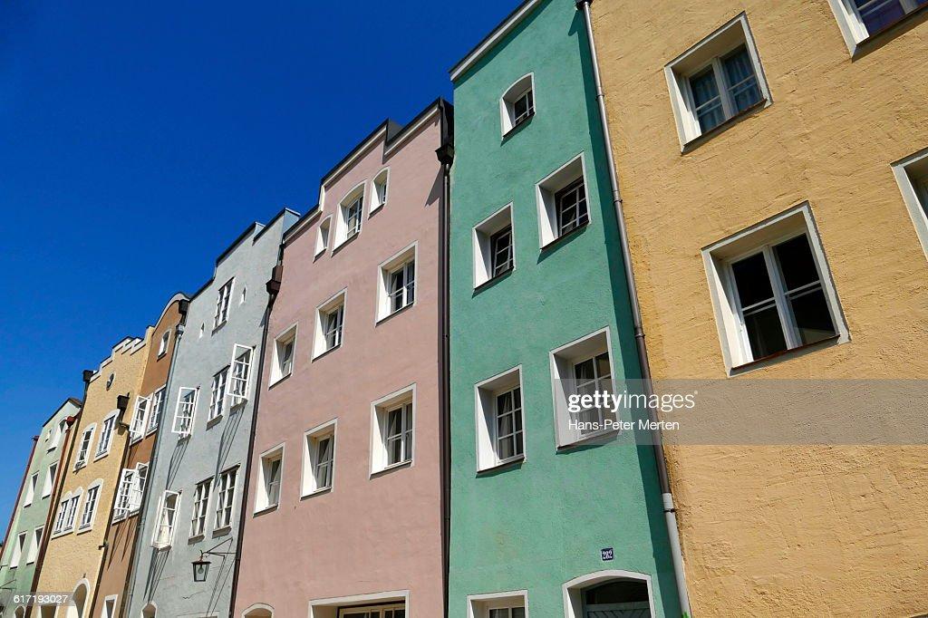 Burghausen, houses in old town, In den Grüben : Stock Photo