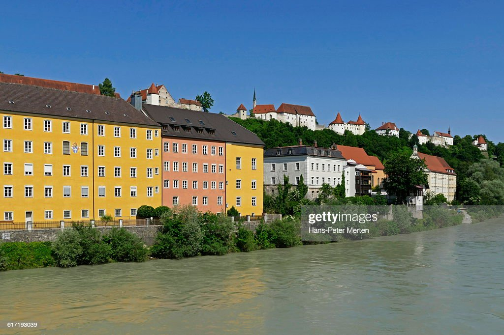 Burghausen, Salzach river, castle, Bavaria : Stock Photo