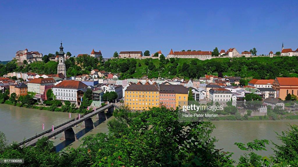 Burghausen, Salzach river, castle, Bavaria : Stock Photo
