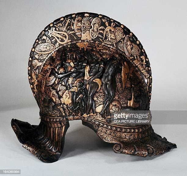 Burgonet helmet with embossed depiction of the Judgment of Paris Berlin BauhausArchiv Museum Für Gestaltung