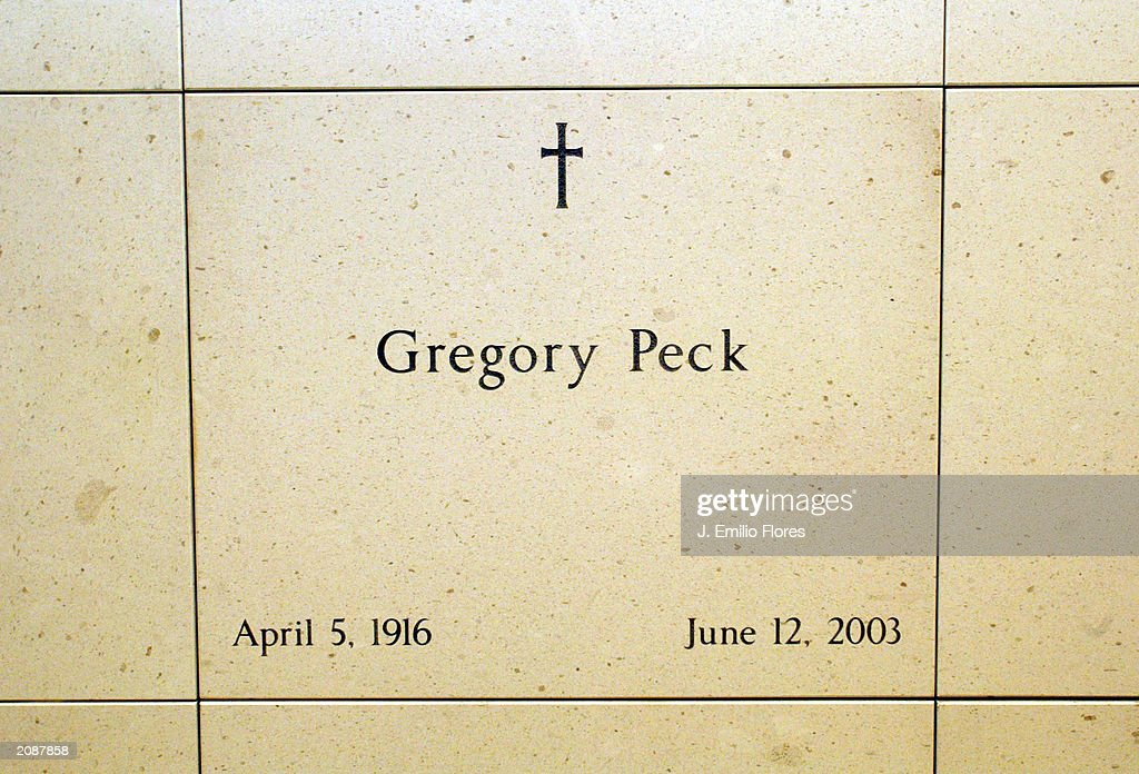 Burial site for actor Gregory Peck inside the Our Lady of Angels Cathedral June 16, 2003 in Los Angeles, California.