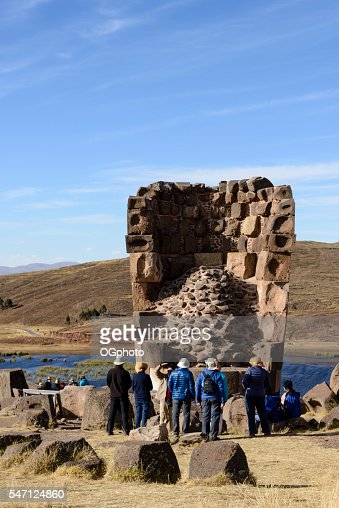 Burial tower at the archaelogical site of Sillustani, Peru : Stock Photo