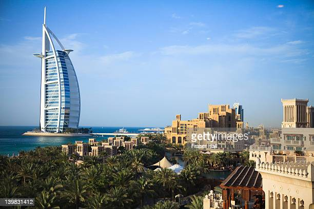 Burj Al Arab and Madinat Jumeirah in foreground, the iconic Burj Al Arab is the World's tallest hotel at 321 metres, Jumeirah, Dubai, United Arab Emirates