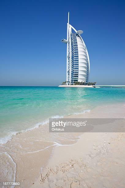 Burj Al Arab Hotel with Clear Blue Sky, Dubai, UAE