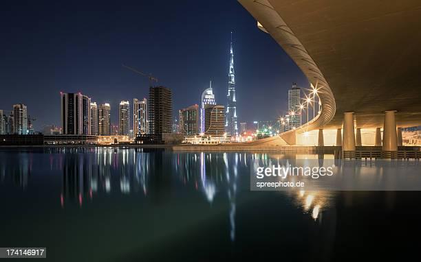 Burj Khalifa at Night with Bridge