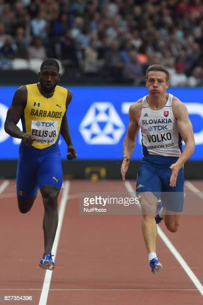 Burkheart ELLIS JR Barbados and Ján VOLKO Slovakia during 200 meter heats in London on August 7 2017 at the 2017 IAAF World Championships athletics