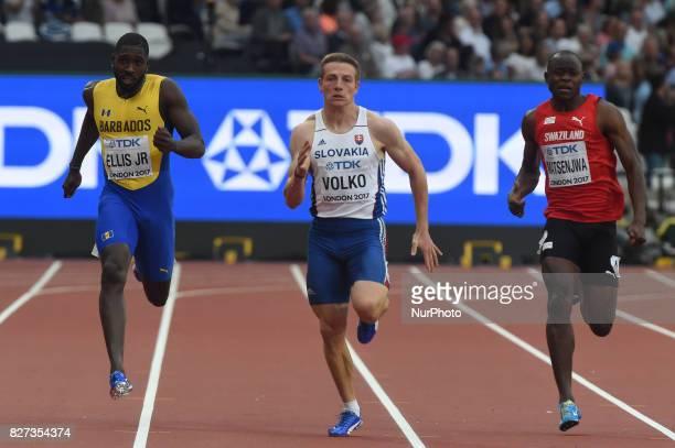 Burkheart ELLIS JR Barbados Ján VOLKO Slovakia and Sibusiso MATSENJWA Switzerland during 200 meter heats in London on August 7 2017 at the 2017 IAAF...