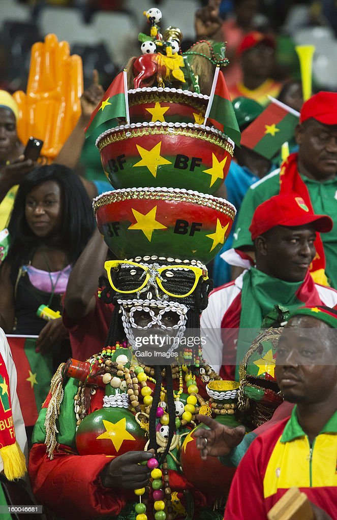 A Burkina Faso fan enjoys the atmosphere during the 2013 African Cup of Nations match between Burkina Faso and Ethiopia from Mbombela Stadium on January 25, 2013 in Nelspruit, South Africa.