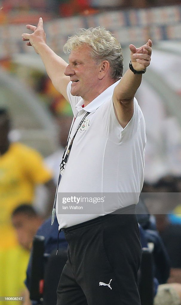Burkina Faso manager Paul Put celebrates after the 2013 Africa Cup of Nations Quarter-Final match between Burkina Faso and Togo at the Mbombela Stadium on February 3, 2013 in Nelspruit, South Africa.