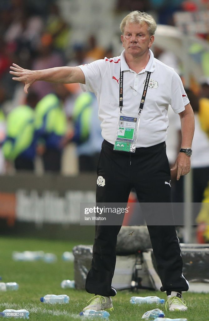 Burkina Faso manager Paul Put looks on during the 2013 Africa Cup of Nations Quarter-Final match between Burkina Faso and Togo at the Mbombela Stadium on February 3, 2013 in Nelspruit, South Africa.