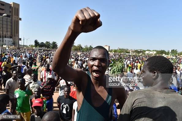 Burkina Faso opposition supporters protest in Ouagadougou on October 28 2014 against plans to let the longserving president extend his rule beyond 30...