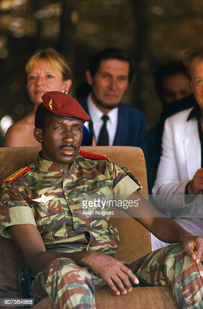Burkina Faso President Thomas Sankara poses for a portrait during an official visit of French President Francois Mitterrand to his country