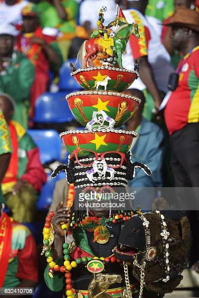 Burkina Faso supporter attends the 2017 Africa Cup of Nations group A football match between GuineaBissau and Burkina Faso in Franceville on January...