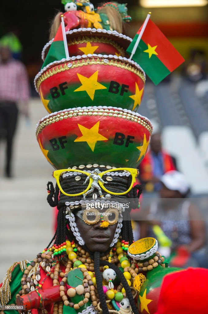 A Burkina Faso supporter during the 2013 Orange African Cup of Nations match between Burkina Faso and Zambia from Mbombela Stadium on January 29, 2013 in Nelspruit, South Africa.