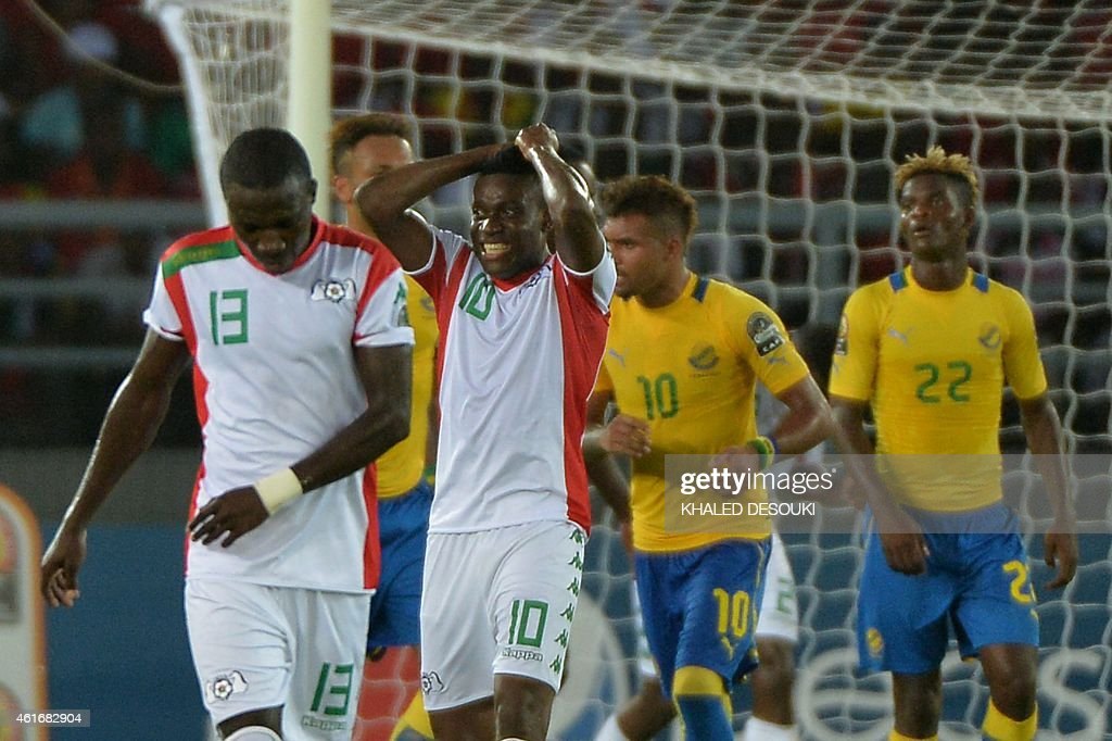 Burkina Faso's <a gi-track='captionPersonalityLinkClicked' href=/galleries/search?phrase=Alain+Traore&family=editorial&specificpeople=4146262 ng-click='$event.stopPropagation()'>Alain Traore</a> (C) reacts after missing a chance to score during the 2015 African Cup of Nations group A football match between Burkina Faso and Gabon at Bata Stadium in Bata on January 17, 2015.